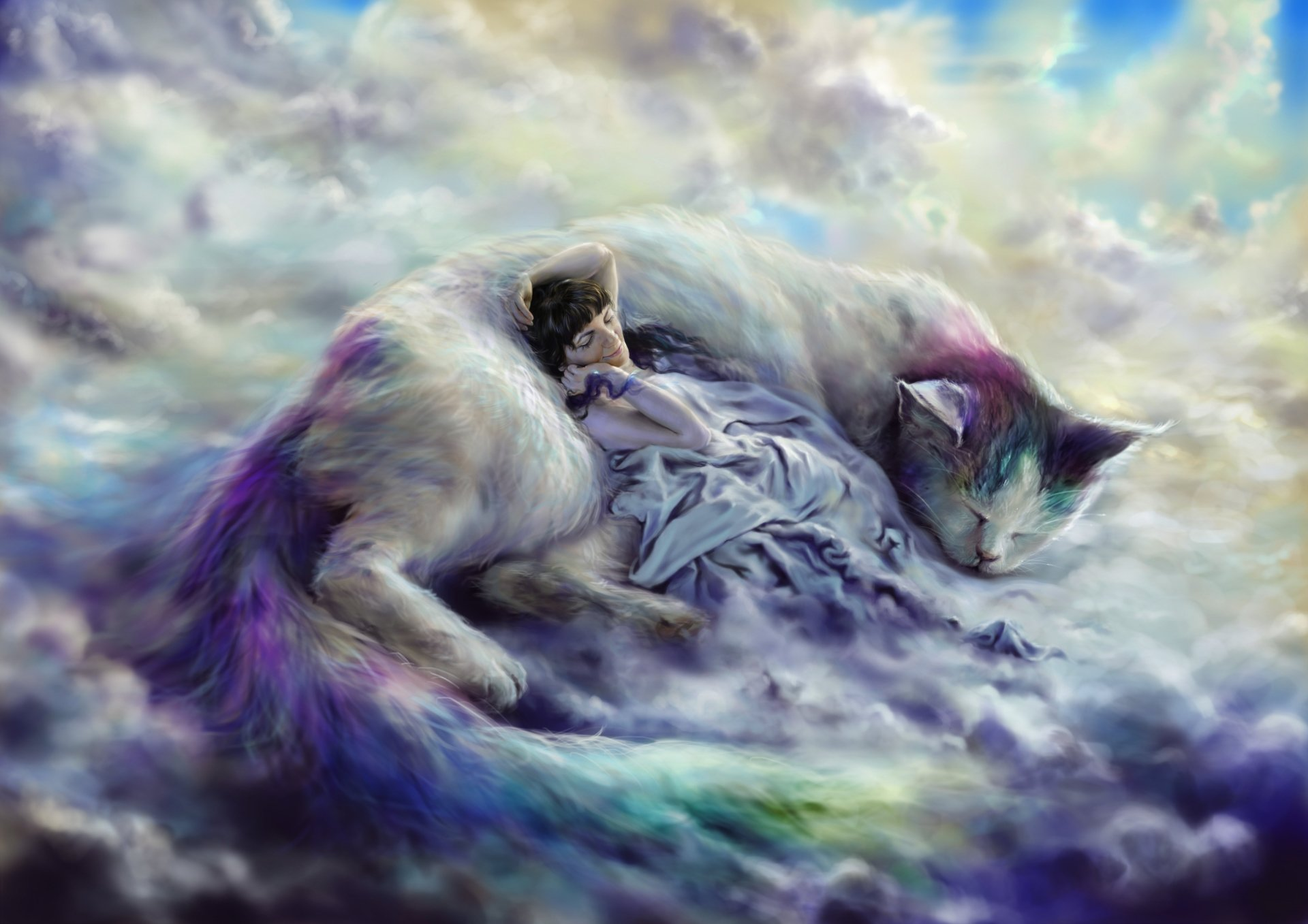 Fantasy - Cat  Fantasy Giant Woman Sleeping Sky Cloud Blanket Purple Wallpaper
