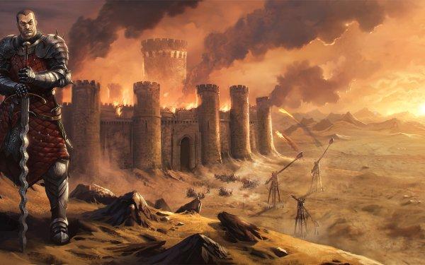 Fantasy Battle Knight Warrior Trebuchet Castle Fire Desert Armor Sword HD Wallpaper | Background Image