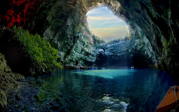 Earth Cave Caves Melissani Cave Greece Sunlight Blue Nature Cliff HD Wallpaper | Background Image