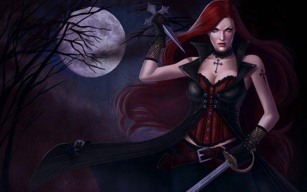Fantasía Mujeres Guerrera Gótico Árbol Luna Espada Redhead Cruz Belt Dagger Red Hair Oscuro Fondo de pantalla HD | Fondo de Escritorio