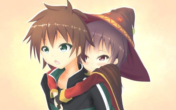 Anime KonoSuba – God's blessing on this wonderful world!! Megumin Kazuma Satou HD Wallpaper   Background Image