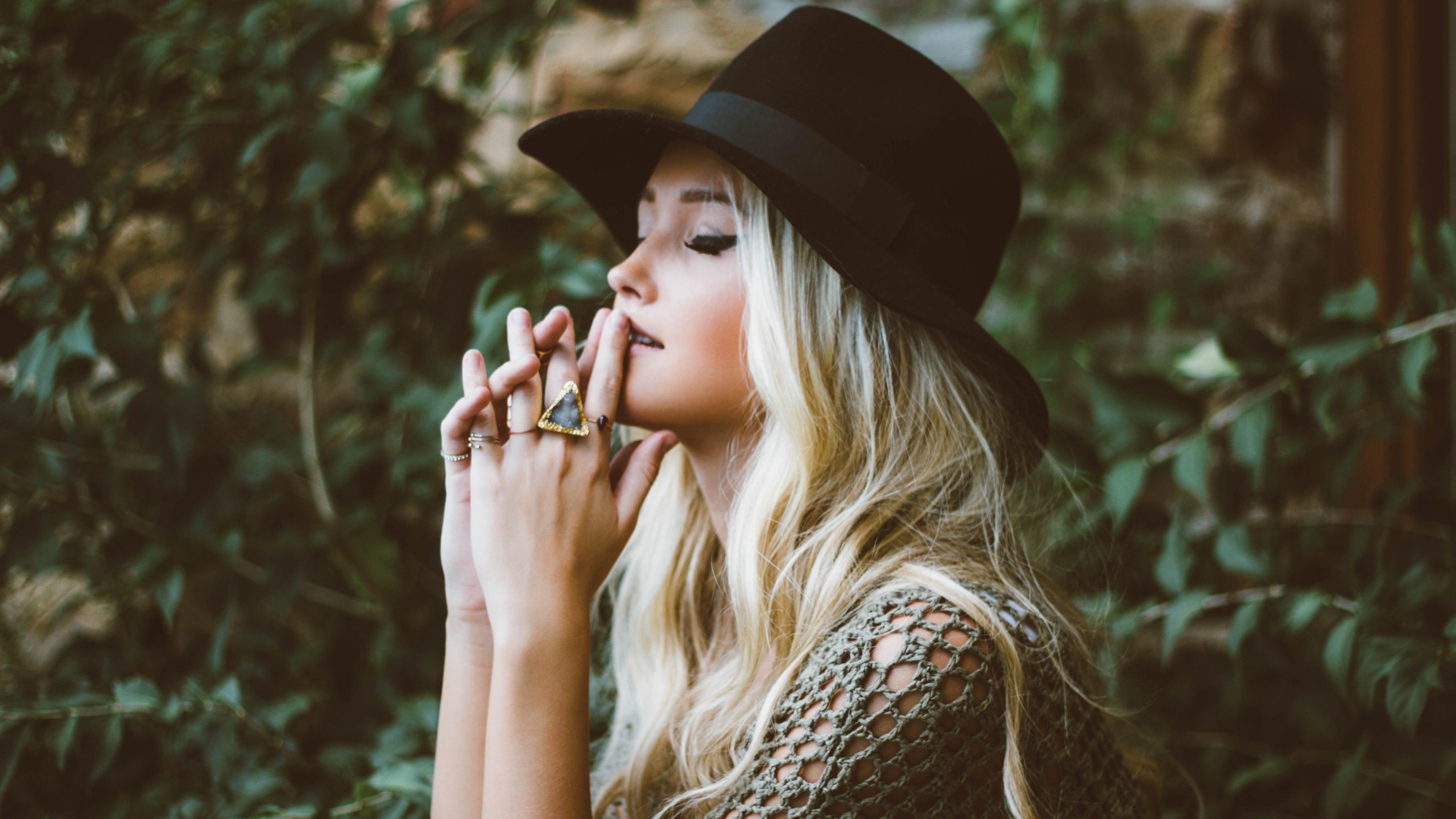 pretty girl wearing a hat 4k ultra hd wallpaper background image