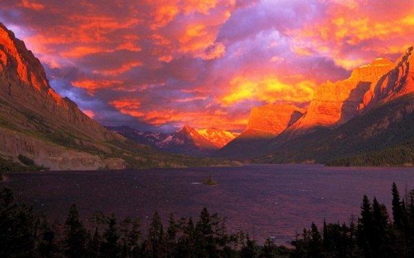 Earth Lake Lakes Glacier National Park Alberta Canada Sunset Sky orange Purple Cloud Mountain Landscape HD Wallpaper | Background Image