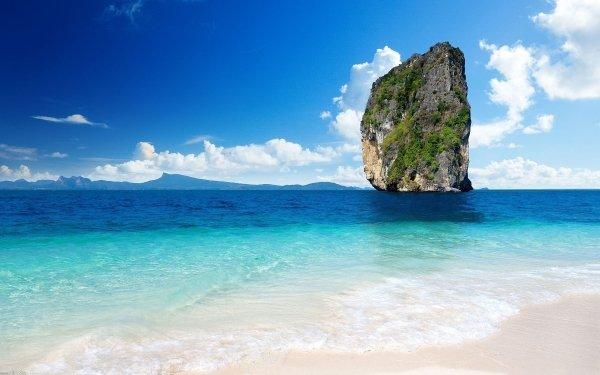 Earth Ocean Rock Thailand Cliff Horizon Sky Blue HD Wallpaper | Background Image