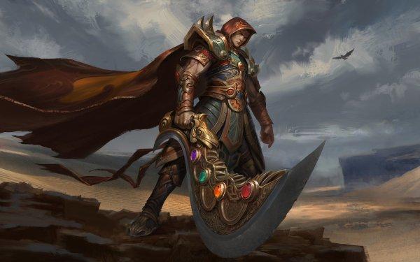 Fantasy Warrior Armor Cloak Weapon Sword Desert HD Wallpaper | Background Image