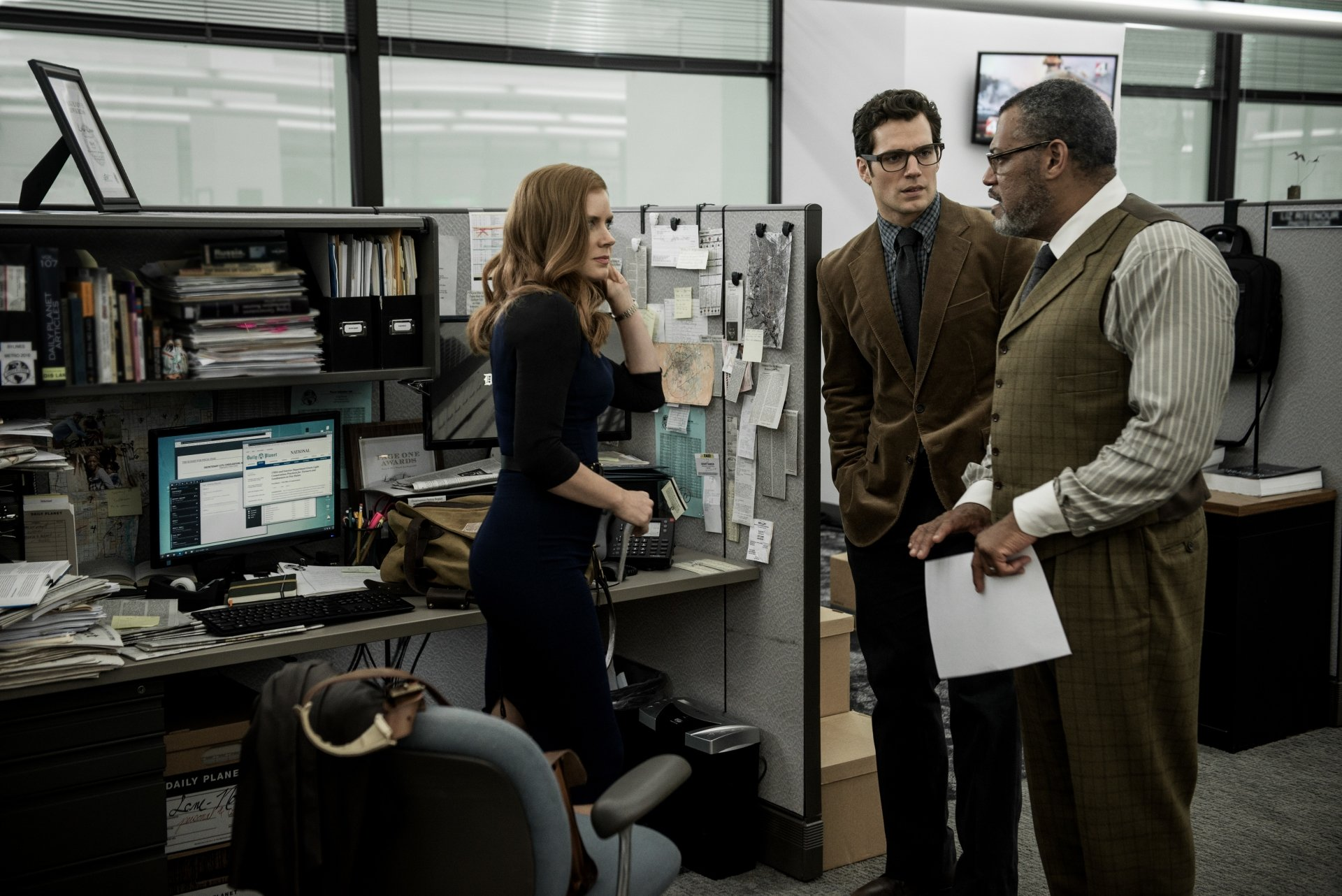 Movie - Batman v Superman: Dawn of Justice  Lois Lane Amy Adams Clark Kent Laurence Fishburne Superman Perry White Henry Cavill Wallpaper