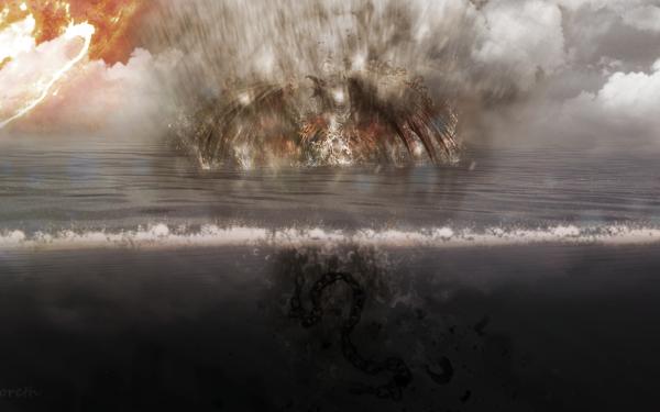 Fantasy Demon Sea Sun Phoenix Underwater Chain HD Wallpaper   Background Image