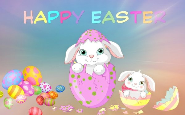 Holiday Easter Bunny Easter Egg Cute Colorful Happy Easter HD Wallpaper | Background Image