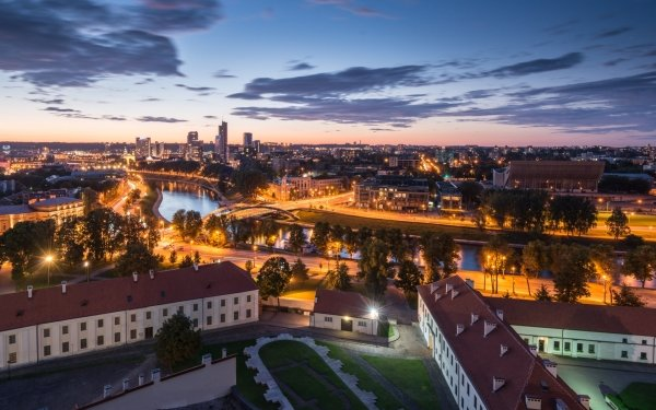 Man Made Vilnius Cities Lithuania Cityscape Night City HD Wallpaper | Background Image