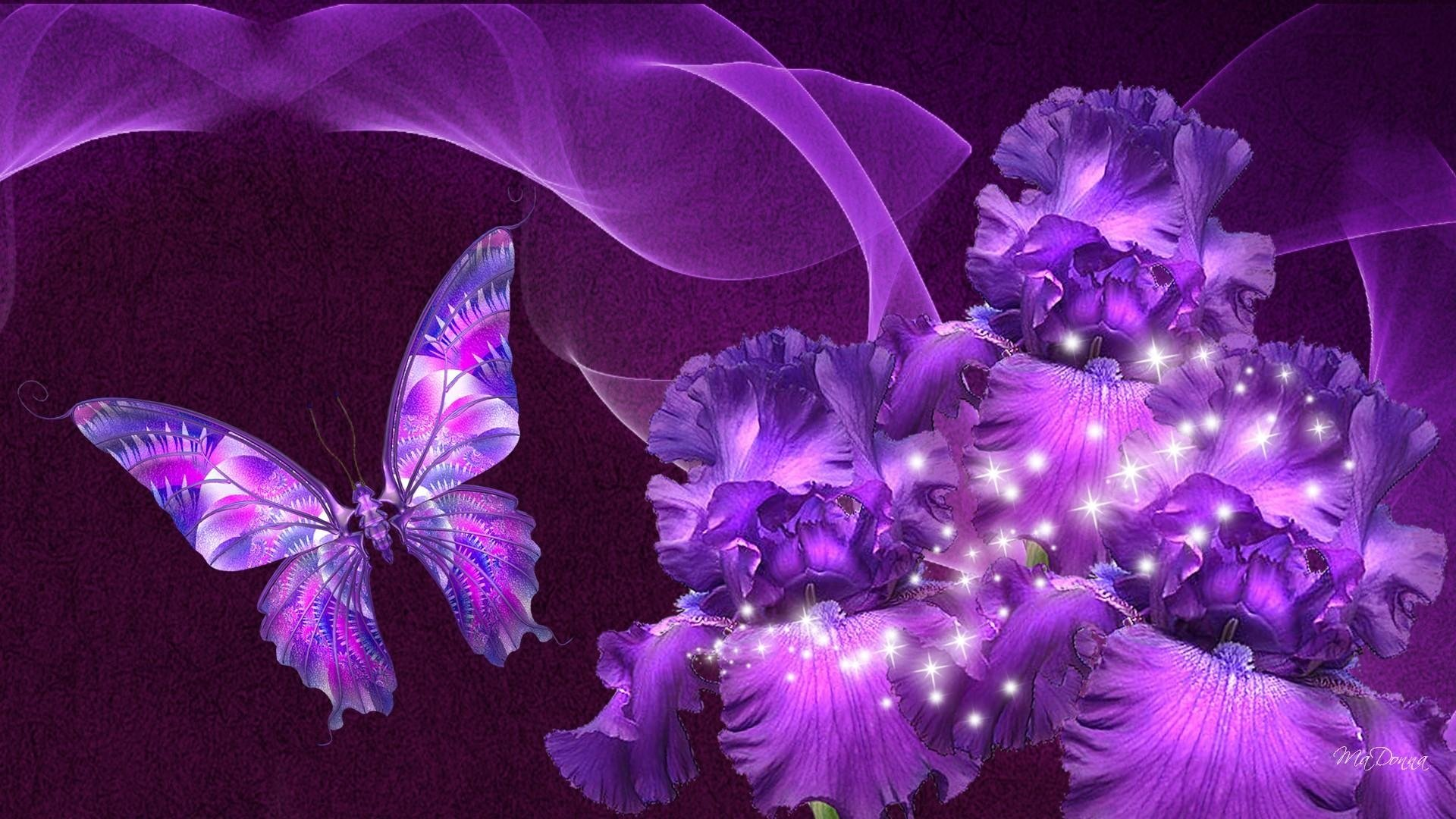 Abstract - Purple  Artistic Butterfly Flower Wallpaper