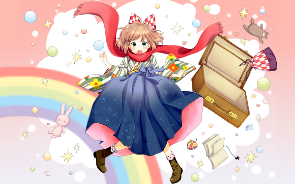 Anime Original Japanese Clothes Suitcase Book Bunny bow HD Wallpaper | Background Image