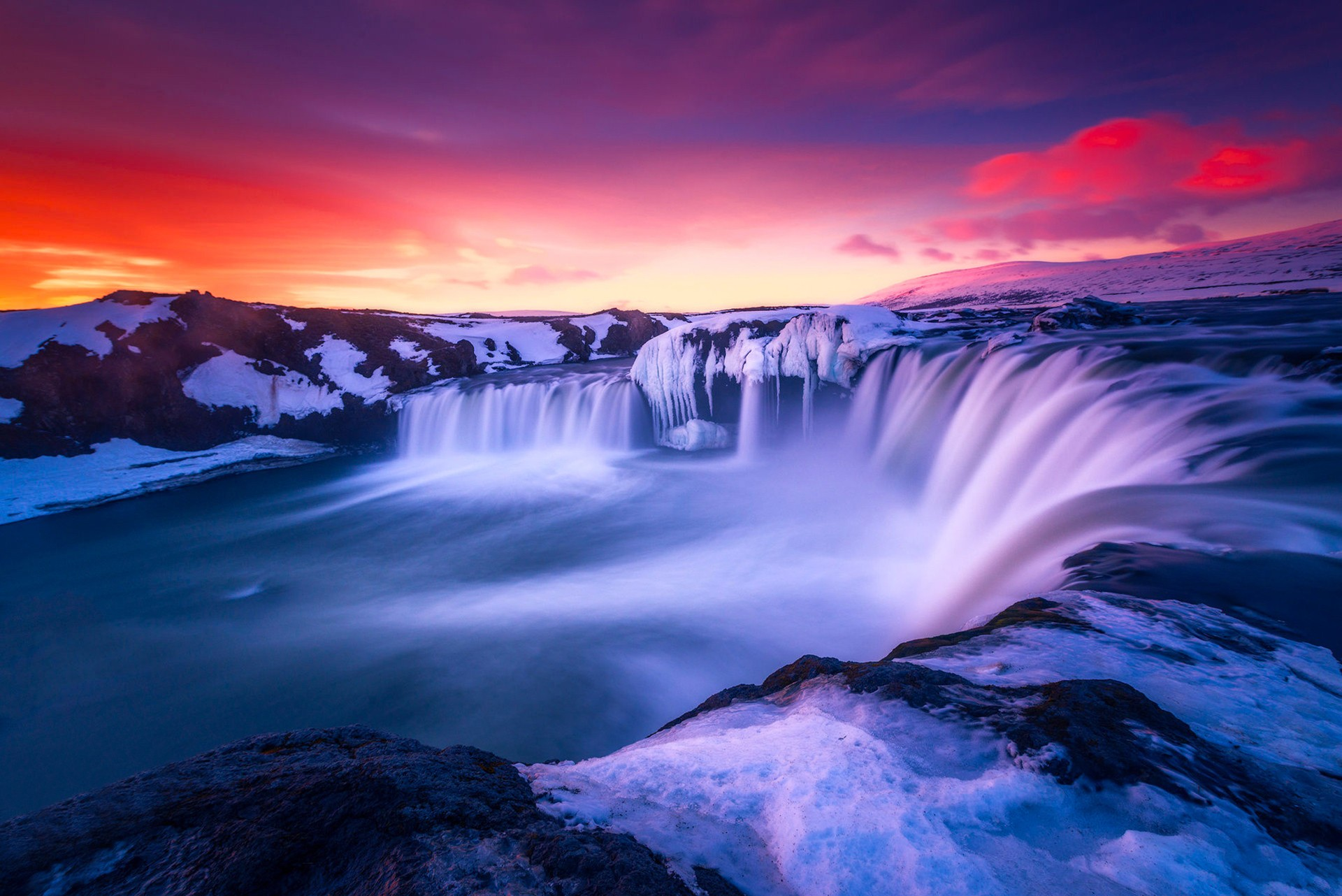 Frozen Waterfall In Iceland Fondo De Pantalla Hd Fondo De