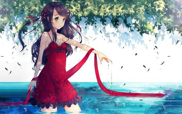 Anime Original Red Dress Green Eyes Agua Fondo de pantalla HD | Fondo de Escritorio
