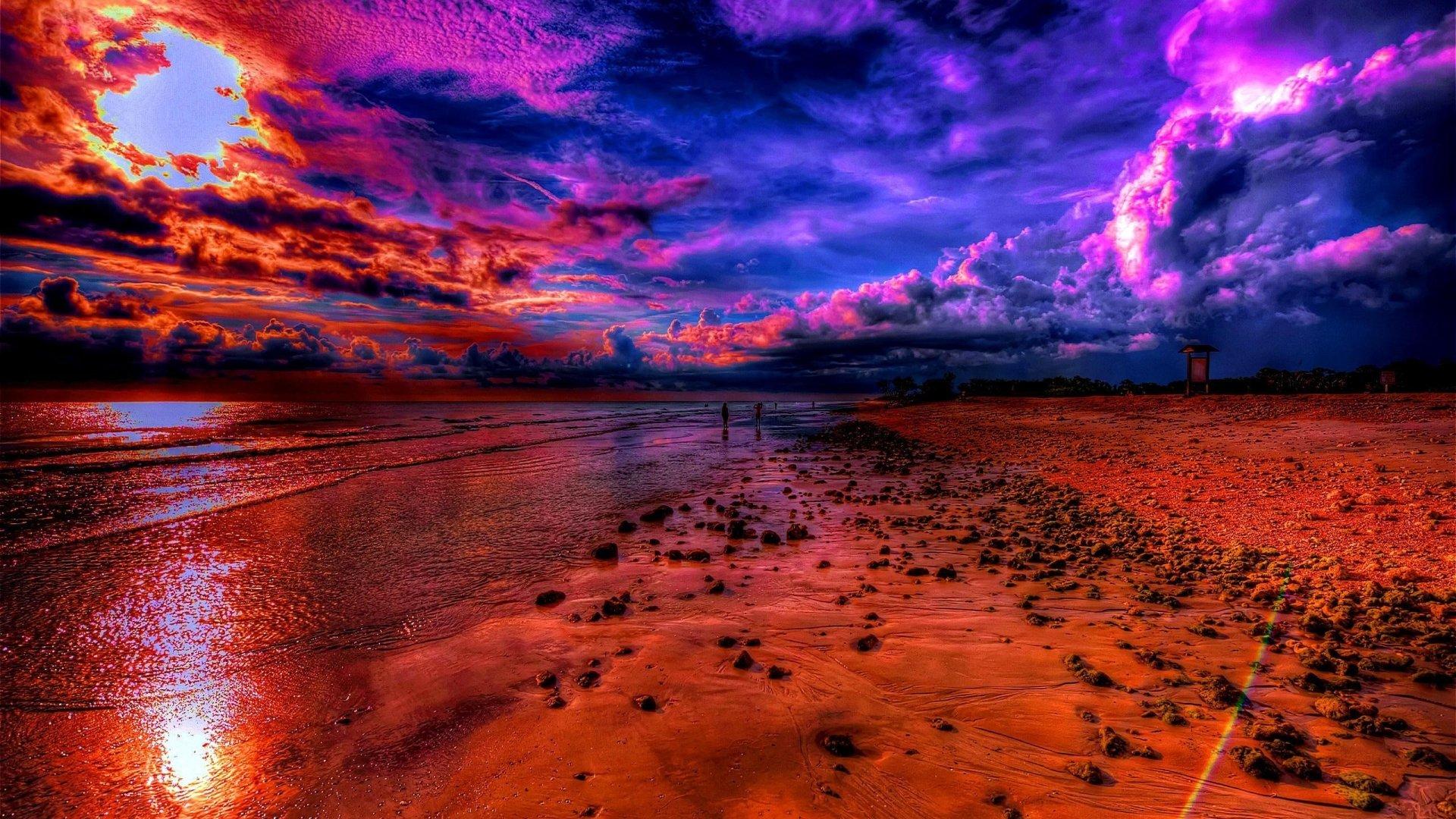 Photographie - Plage  Terre/Nature Ciel Coucher De Soleil Bleu Orange Océan Horizon Imagerie à Grande Gamme Dynamique Fond d'écran