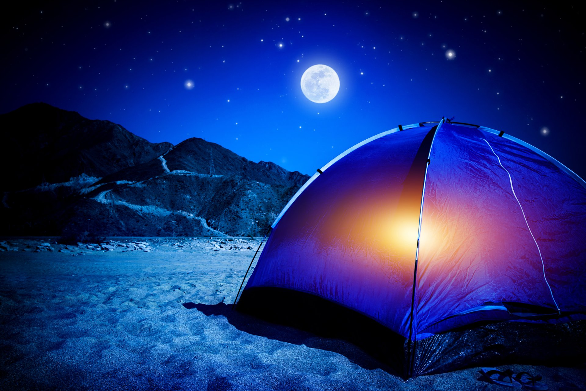 Photography - Camping  Camp Mountain Sand Moon Night Tent Wallpaper