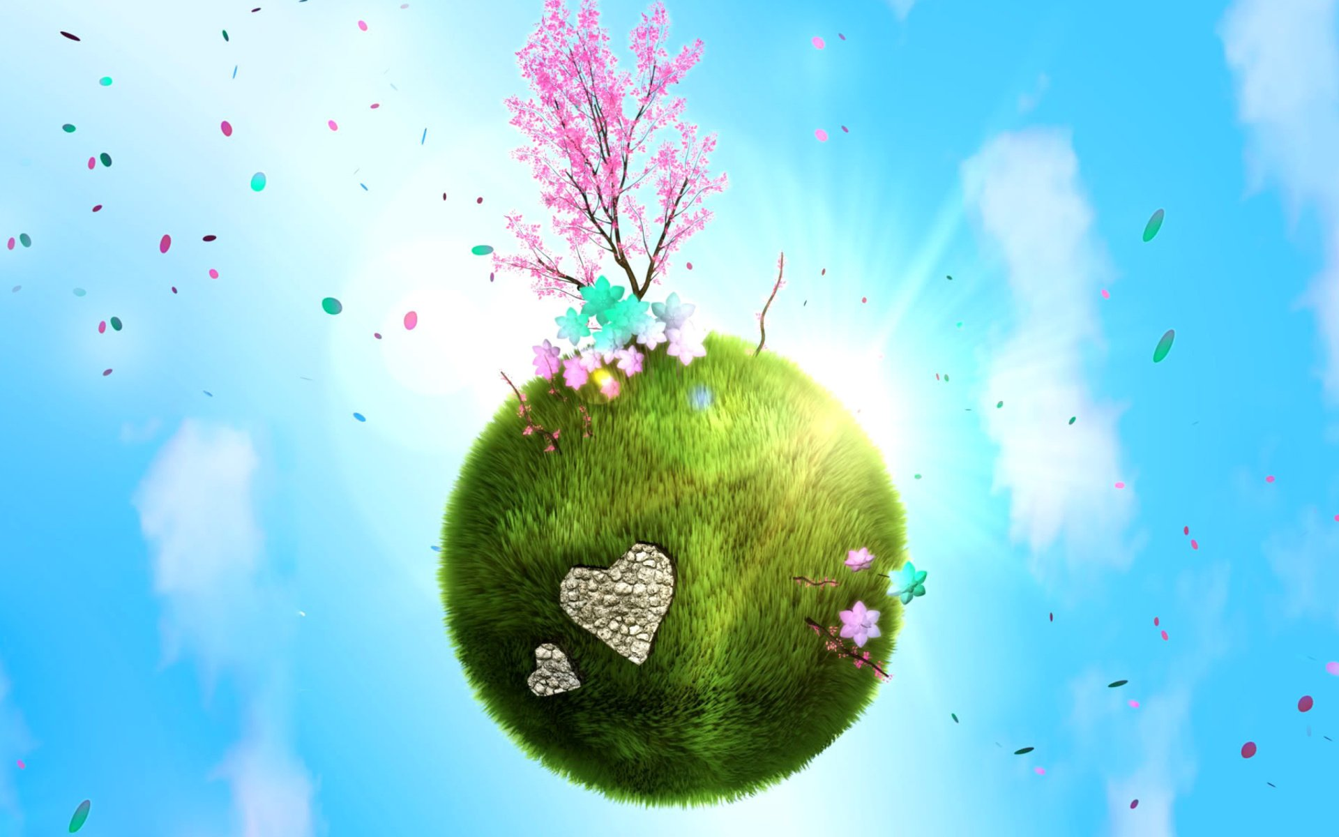 Holiday - Earth Day  Tree Flower Grass Artistic Holiday Wallpaper