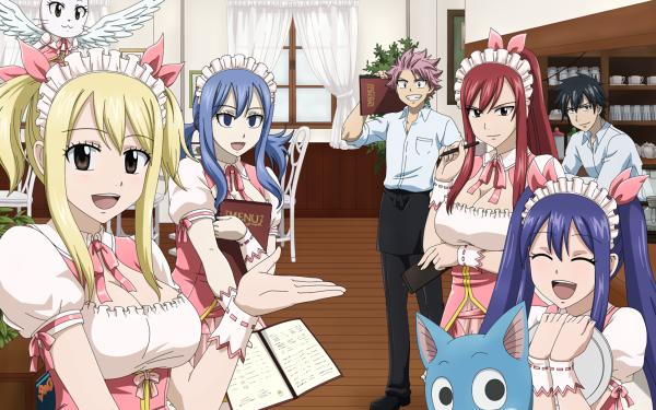 Anime Fairy Tail Natsu Dragneel Lucy Heartfilia Wendy Marvell Erza Scarlet Juvia Lockser Gray Fullbuster Charles Happy Fond d'écran HD | Image