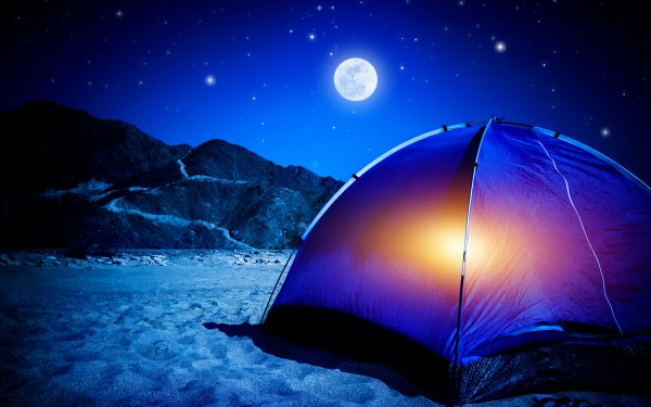 Photography Camping Camp Mountain Moon Night Sand Tent Starry Sky HD Wallpaper | Background Image