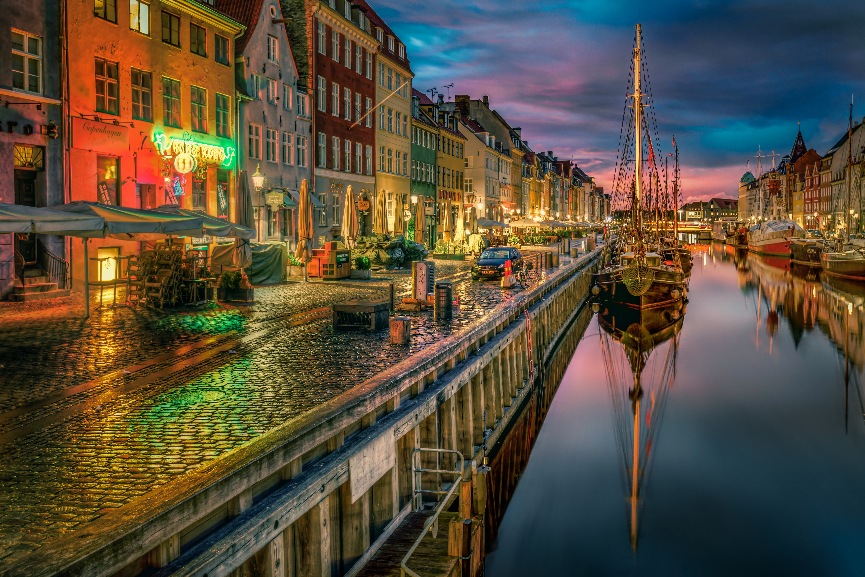 Copenhagen Denmark At Night 5k Retina Ultra HD Wallpaper