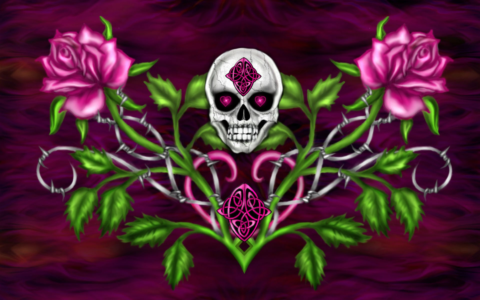 Skull And Pink Roses Hd Wallpaper Background Image 1920x1200