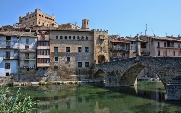 Man Made Village Valderrobres Spain Bridge Castle HD Wallpaper | Background Image
