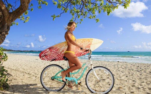 Women Mood Surfboard Woman Bike Beach Bikini HD Wallpaper   Background Image