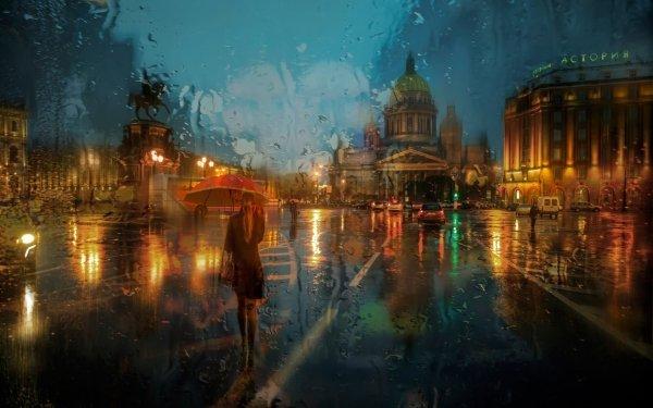 Fantasía Ciudad San Petesburgo Lluvia Carretera Monumento Paraguas Fondo de pantalla HD | Fondo de Escritorio