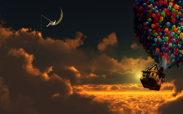 Movie Up House Balloon Sky Cloud Moon HD Wallpaper | Background Image