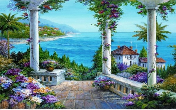 Artistic Painting Columns Flower HD Wallpaper   Background Image