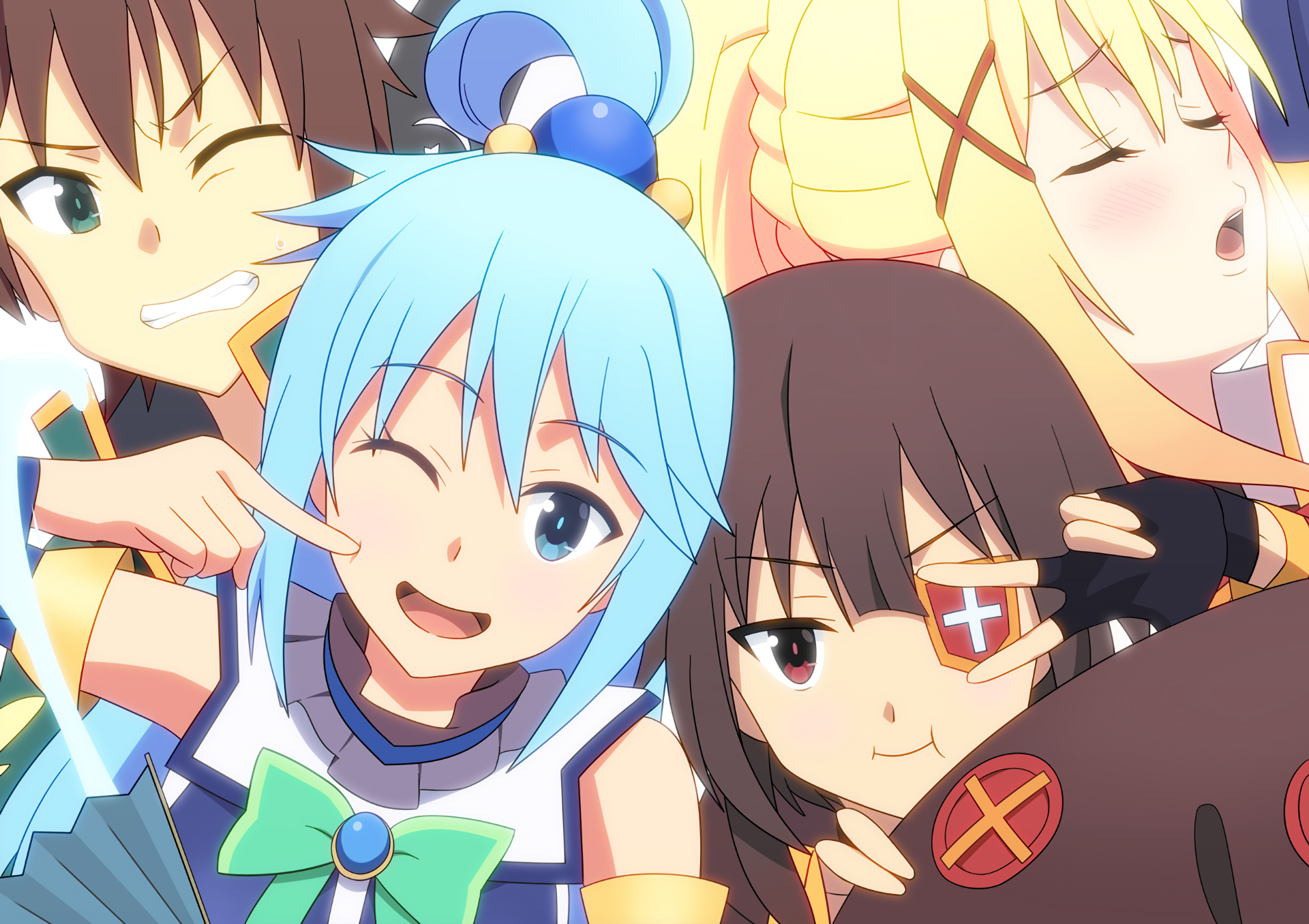 Anime - KonoSuba – God's blessing on this wonderful world!!  Kazuma Satou Lalatina Dustiness Ford Megumin (KonoSuba) Aqua (KonoSuba) Duvarkağıdı