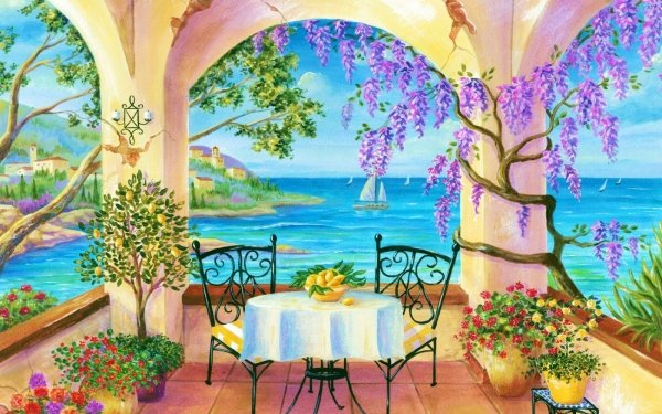 Artistic Painting Porch Columns Flower Ocean Tropical HD Wallpaper   Background Image