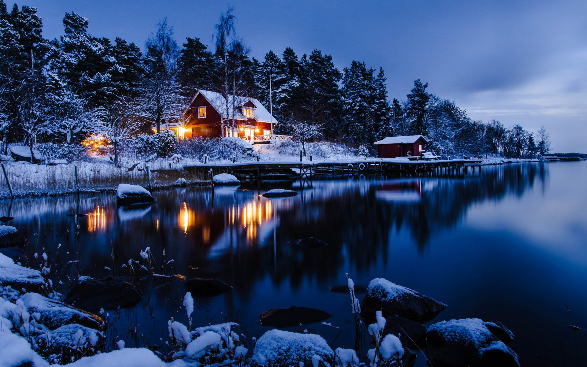 Photography - Winter  Earth House Lake Snow Night Reflection Wallpaper