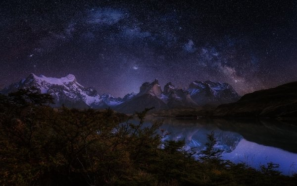 Earth Mountain Mountains Lake Tree Shrub Night Starry Sky Nature Reflection Milky Way HD Wallpaper | Background Image