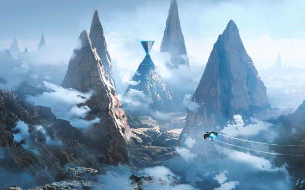 Sci Fi Landscape Mountain Cloud Vehicle HD Wallpaper | Background Image