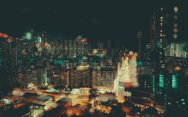 Man Made City Cities Urban Night Bokeh HD Wallpaper | Background Image