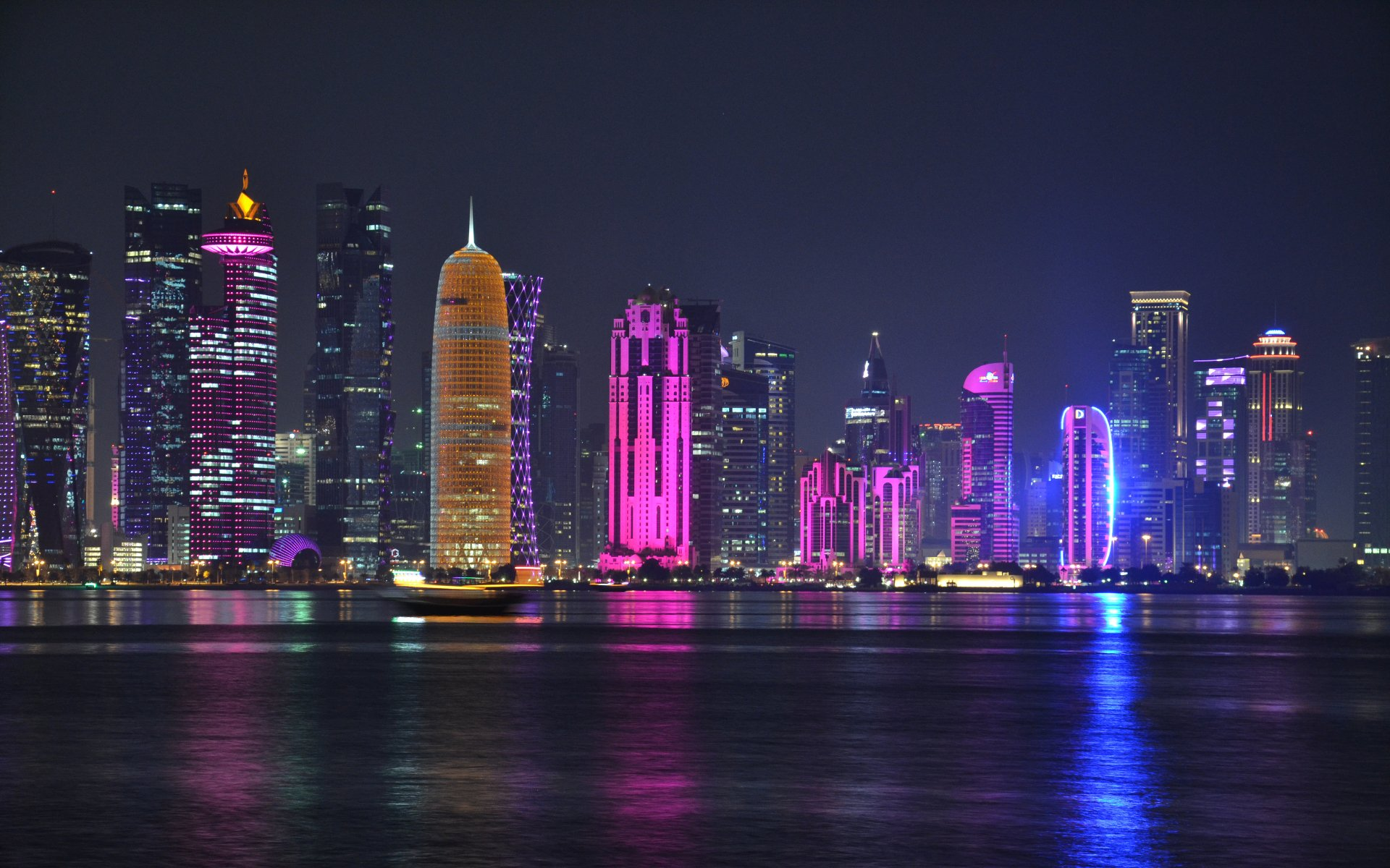Man Made - Doha  Qatar City Night Building Light Skyscraper Wallpaper