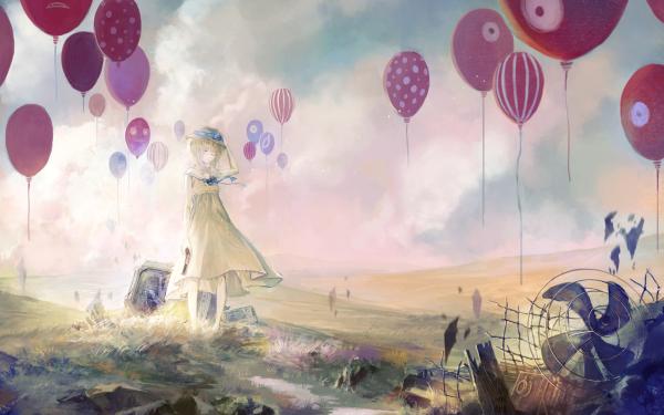 Anime Original Balloon Dress Blonde Short Hair HD Wallpaper | Background Image