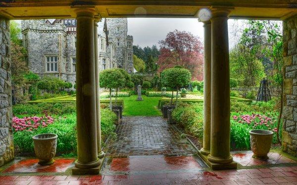 Man Made Garden Courtyard Castle Flower Columns HD Wallpaper   Background Image