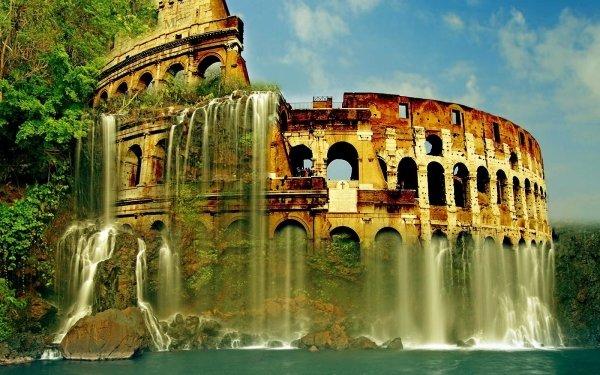 Artistic Fantasy Colosseum Ruin Waterfall Ocean HD Wallpaper | Background Image