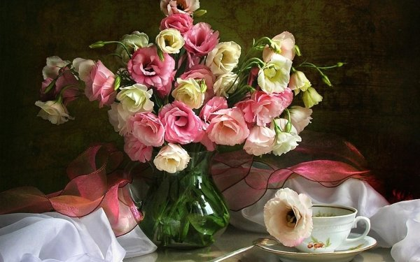 Photography Still Life Flower Rose Vase Scarf Cup HD Wallpaper | Background Image