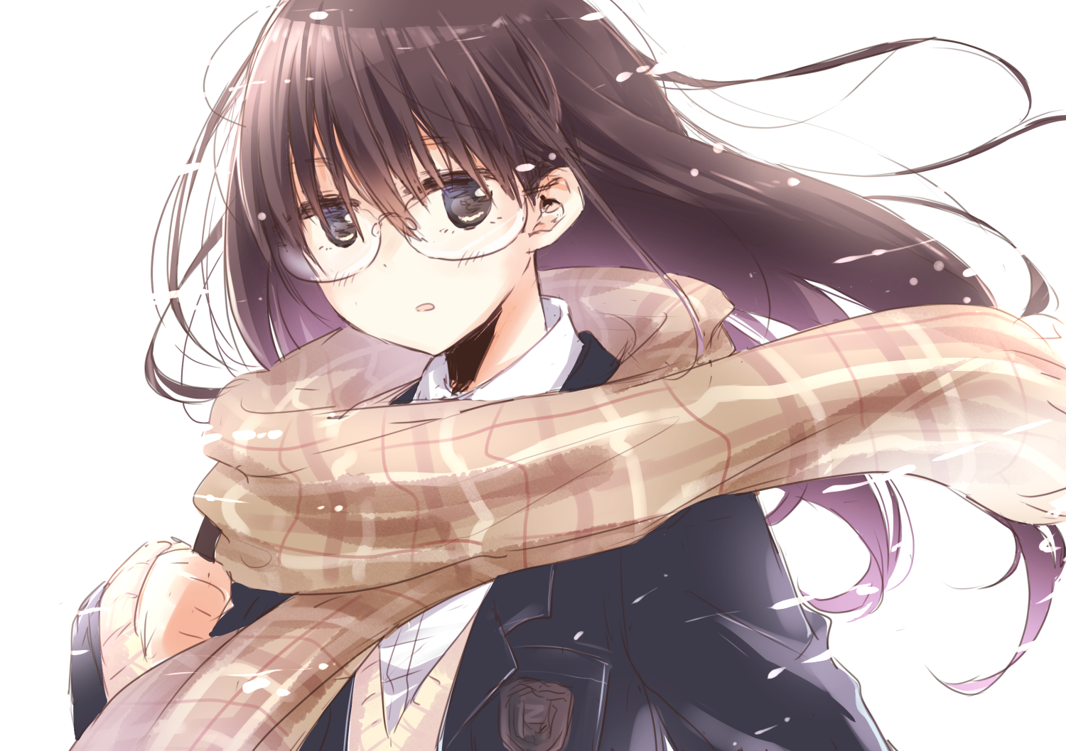 Anime girl brown hair glasses