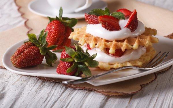 Alimento Desayuno Gofre Cream Fresa Fondo de pantalla HD | Fondo de Escritorio
