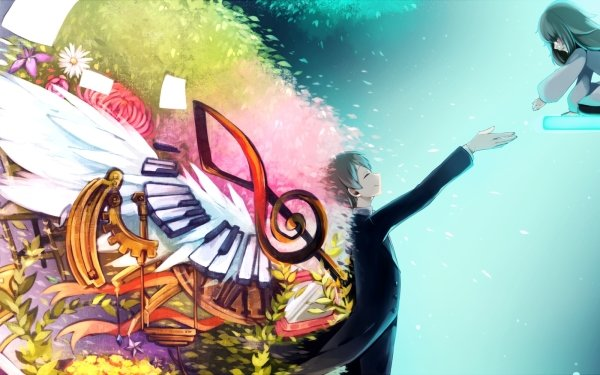 Video Game Deemo Long Hair Green Hair Piano Colorful Smile Flower Alice HD Wallpaper | Background Image