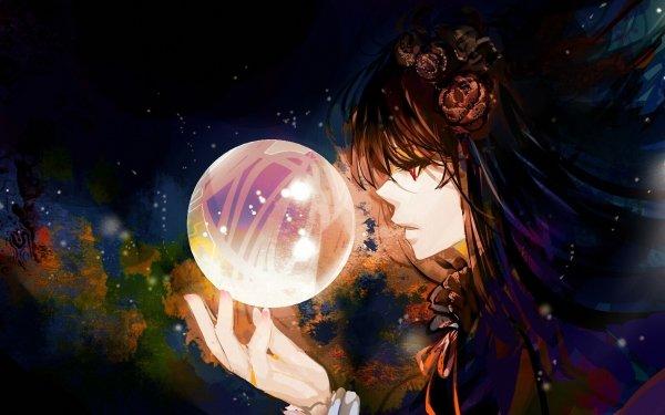 Anime Original Magic Ball Red Eyes Long Hair Brown Hair HD Wallpaper | Background Image