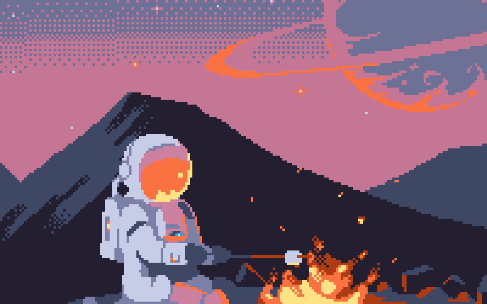 Artistic - Pixel Art  8-Bit Astronaut Spacesuit Fire Wallpaper