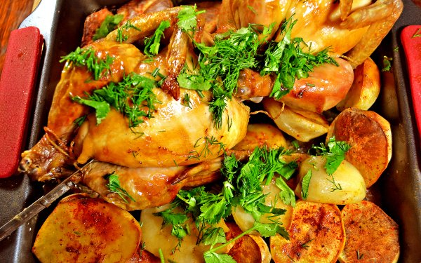 Food Chicken Meat Potato HD Wallpaper | Background Image