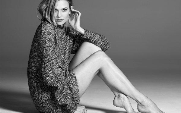 Celebrity Karlie Kloss Models United States Model American Black & White Blonde HD Wallpaper | Background Image