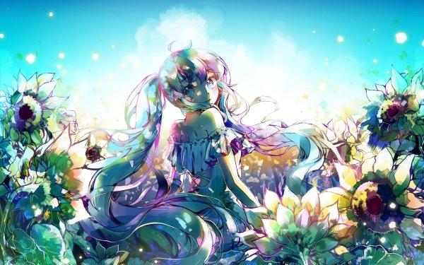 Anime Vocaloid Hatsune Miku Chica Smile Girasol Long Hair Twintails Aqua Eyes Fondo de pantalla HD | Fondo de Escritorio