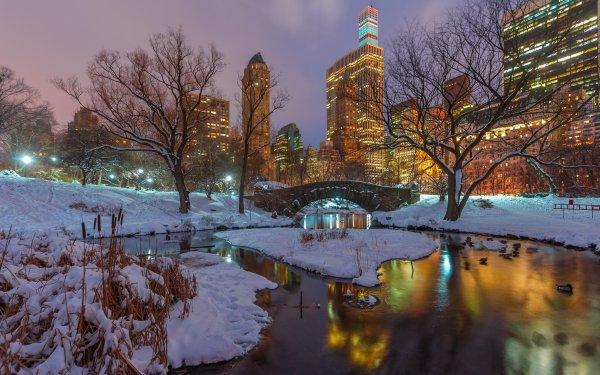 Man Made Central Park Night New York USA Winter Snow Bridge Gapstow Bridge HD Wallpaper   Background Image