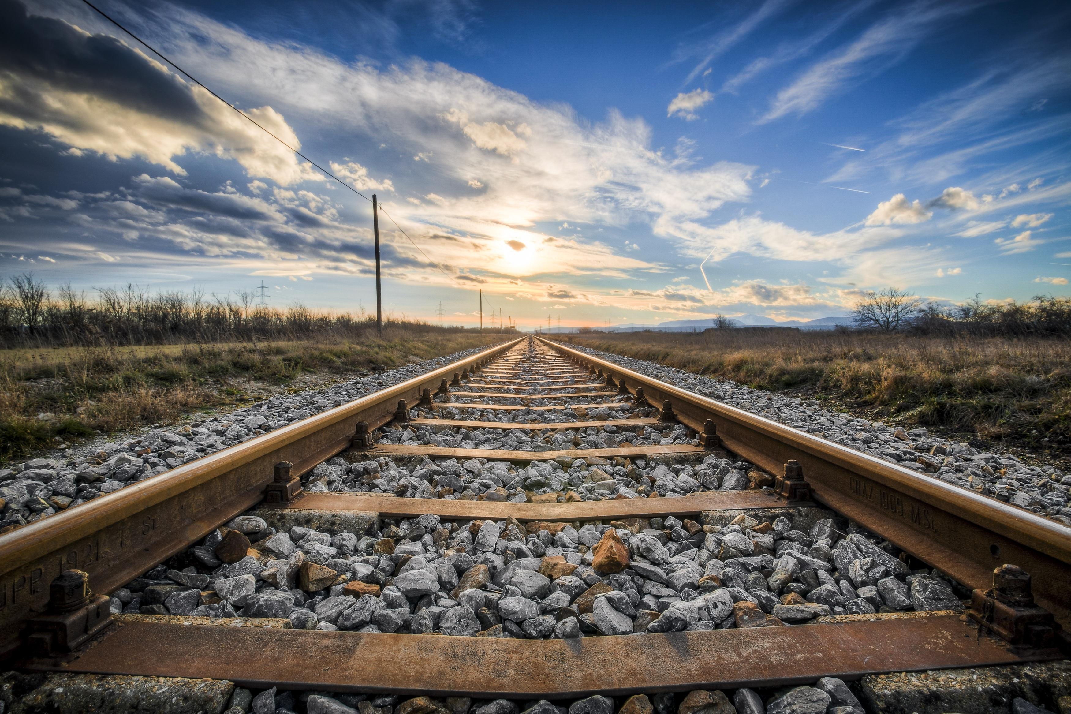 Railway Track at sunset HD Wallpaper